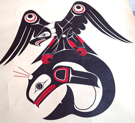 Thunderbird and Killer Whale in traditional style