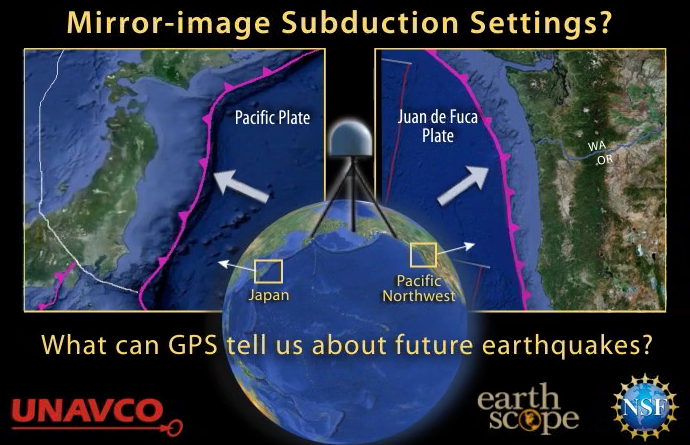 Mirror-image subduction zones - Japan and Pacific NW of USA