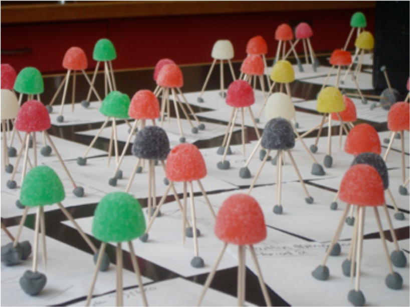 "Gumdrop and toothpick ""GPS stations"" help students understand high precision positioning"