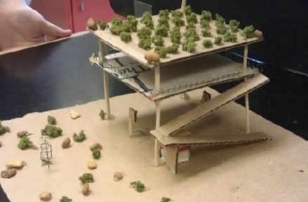 Model of a tsunami vertical evacuation structure designed by middle school students
