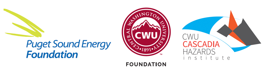 Logos from Puget Sound Energy Foundation, Central Washington University Foundation, and the Cascadia Hazards Institute