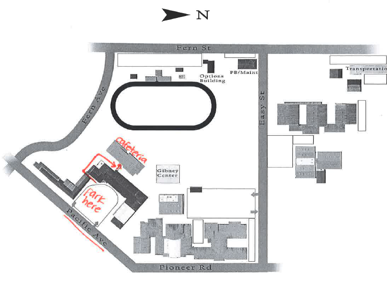 Map for parking by Azalea Middle School