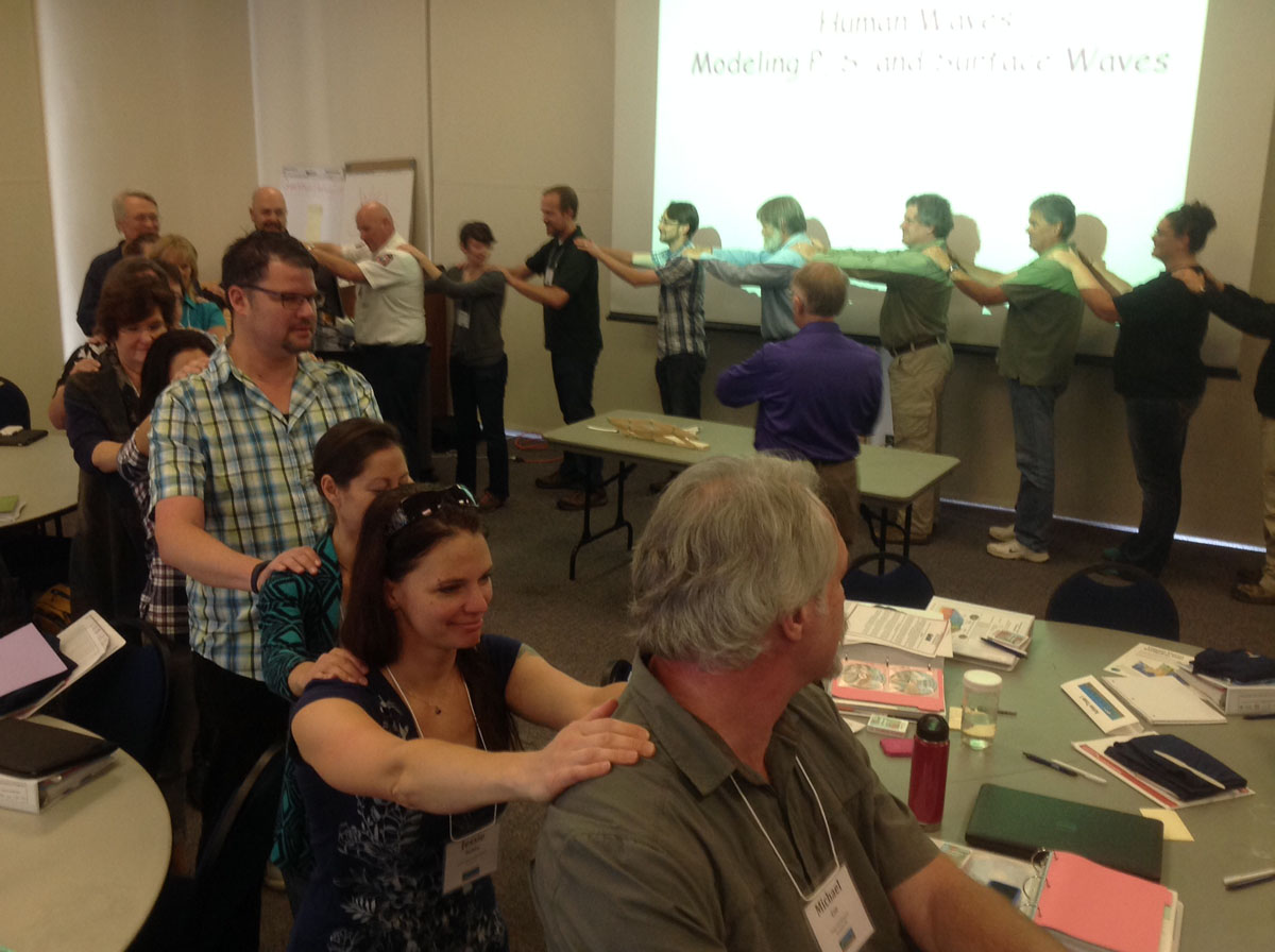 Participants at Arcata, CA 2015 workshop model human seismic waves